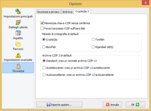 The CZIP options that will help you to make encrypted ZIP archives in CZIP format.